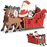 Adventskalender zum befüllen Schlitten ✔ Holz ✔ befüllbar & wiederverwendbar ✔ Holzadventskalender Weihnachtsdeko Holzboxen Deko Weihnachten Kalender