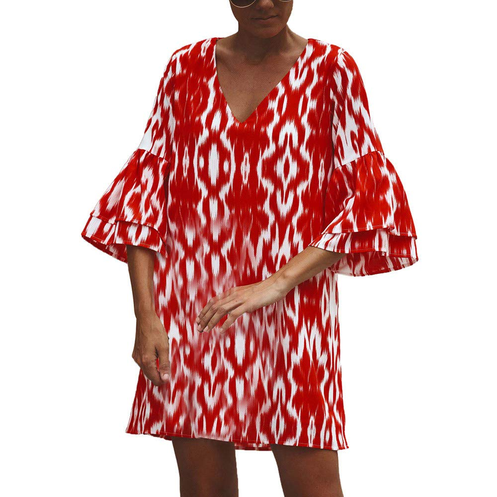 AMSKY Dresses for Women Work Casual Prime, Fashion Women V-Neck Leopard Print Flare Sleeve Easy Leisure Time Dress,Lingerie, Sleep & Lounge,Red,S