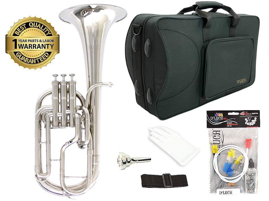 D'Luca 860N3 860 Series Plated Eb Alto Horn with Rose Brass Lead Pipe, Professional Case, Cleaning Kit, Nickel