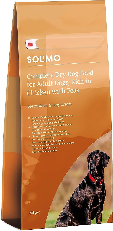 Marca Amazon - Solimo - Alimento seco completo para perro adulto rico en pollo con guisantes, 1 pack de 20 kg