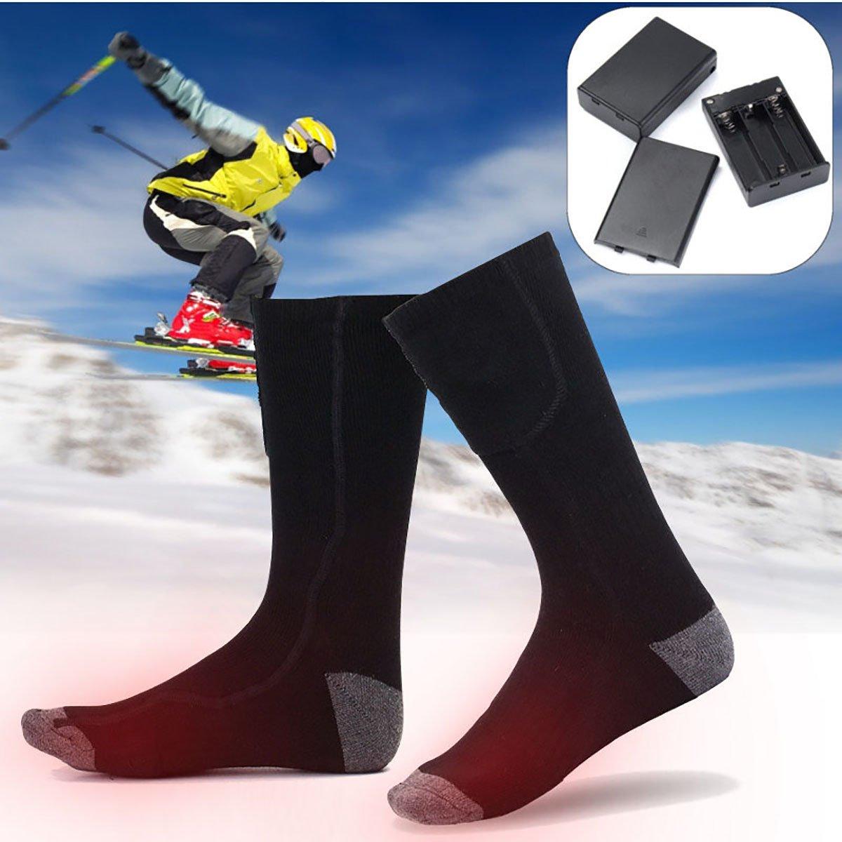 SAFEPRINT Tyon Calcetines con calefactor para hombre y mujer, calcetines térmicos con batería algodón, soporte calentador Calcetines para esquí/snowboard/räumung de nieve/hielo Correr SAFETYON