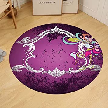 Amazon.com: Gzhihine Custom round floor mat Purple Vintage Style ...