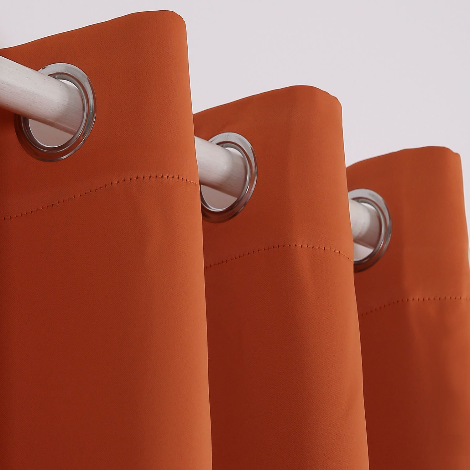 Deconovo Grommet Plush Orange Thermal Insulated Blackout Curtain Panel