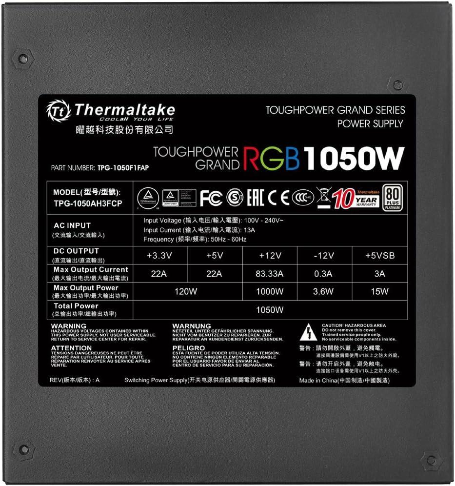 Platinum Smart Zero RGB Fan SLI//CrossFire Ready Continuous Power Thermaltake Toughpower Grand RGB 1200W 80 Full Modular ATX 12V 2.4//EPS 12V 2.92 Power Supply 10 Year Warranty PS-TPG-1200F1FAPU-1
