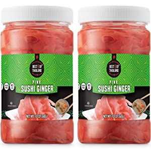 Best of Thailand Japanese Pink Pickled Sushi Ginger | Fresh Sliced Young Gari Ginger in All Natural, Sweet Pickling Brine with Color | Fat Free, Sugar Free, No MSG, Certified Kosher | 2 Jars of 12oz