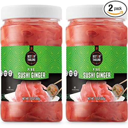 Amazon Com Best Of Thailand Japanese Pink Pickled Sushi Ginger Fresh Sliced Young Gari Ginger In All Natural Sweet Pickling Brine With Color Fat Free Sugar Free No Msg Certified