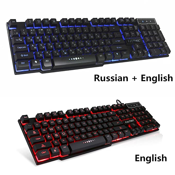 Amazon.com: Fastdisk USB Keyboard with Russian English (Cyrillic) Letters/Characters,3 Color Backlight Gaming Keyboard Teclado Gamer Floating LED Backlit ...