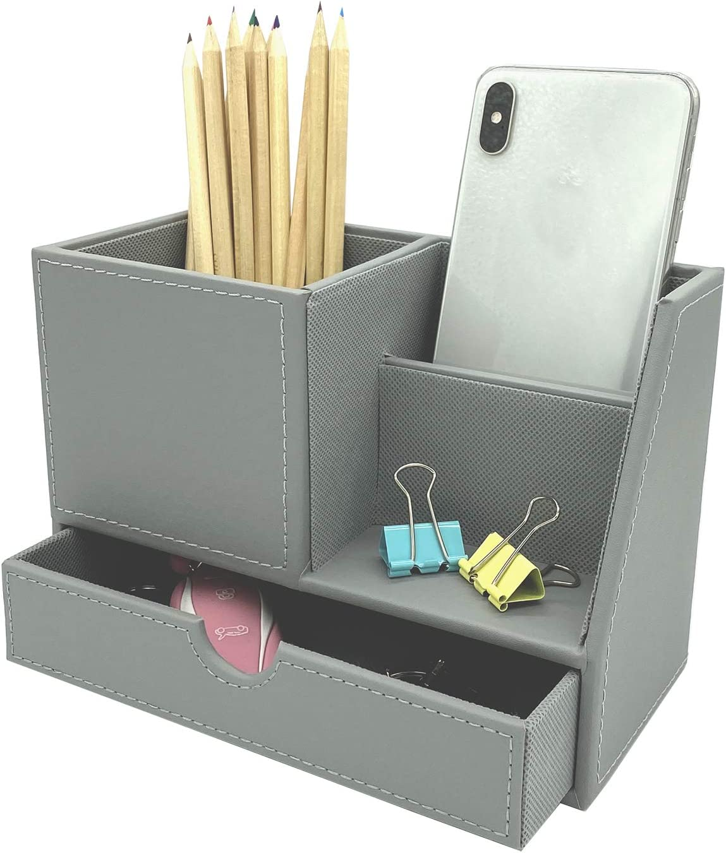 UnionBasic PU Leather 4 Compartment Desk Organizer Card/Pen/Pencil/Mobile Phone Office Supplies Holder Collection Desktop Organizer (NEW Grey (L))