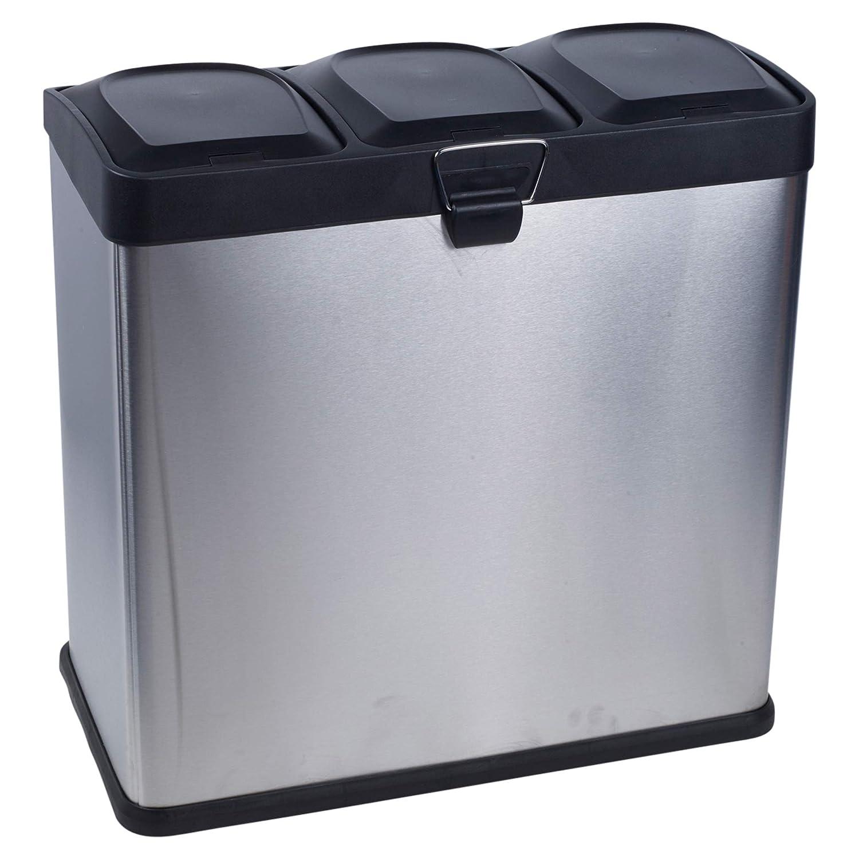 URBNLIVING Contenedores de Basura de Reciclaje de Acero Inoxidable de 40 a 60 l con 2 o 3 Compartimentos 2 Compartments