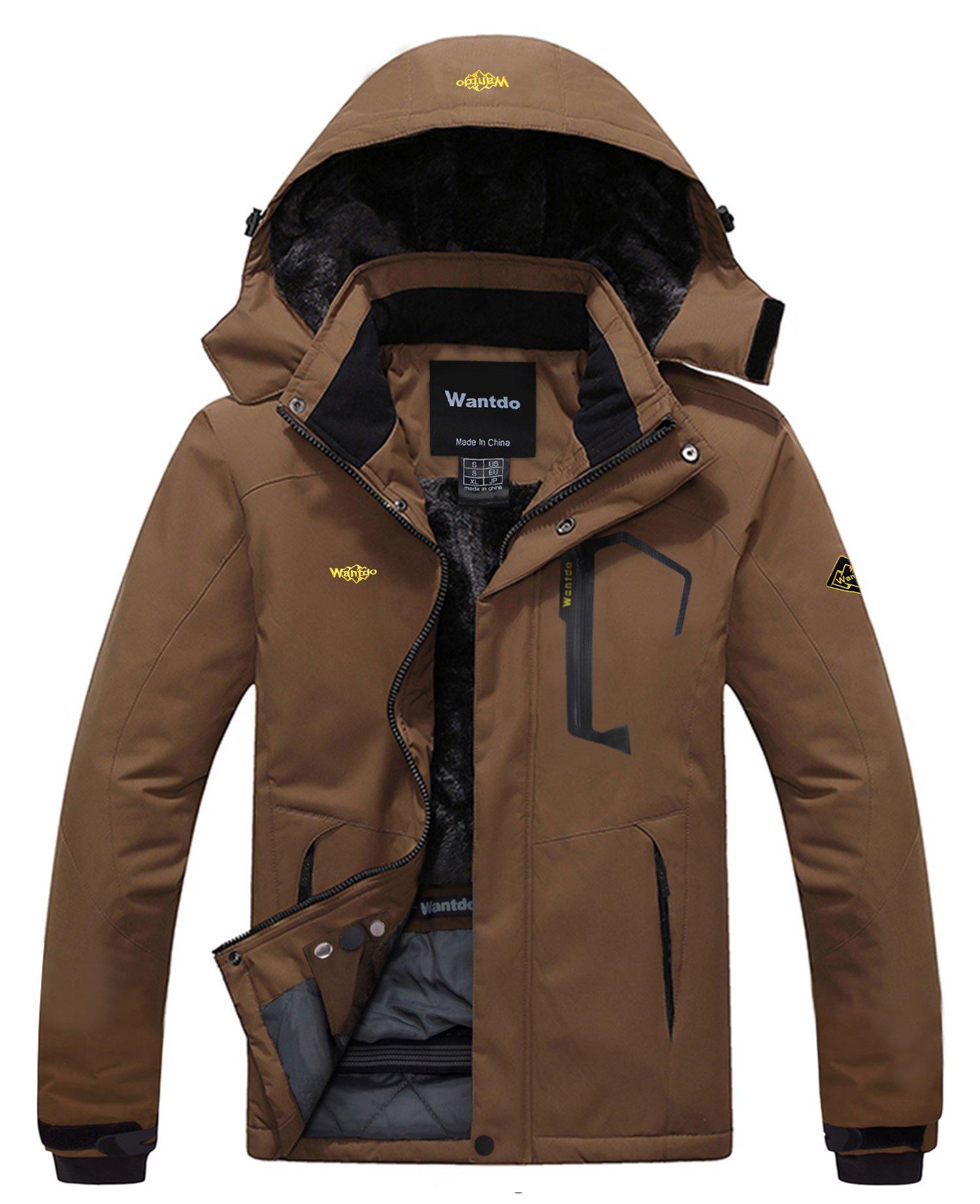 Wantdo Men's Waterproof Mountain Jacket Fleece Windproof Ski Jacket US XL  Coffee XL by Wantdo