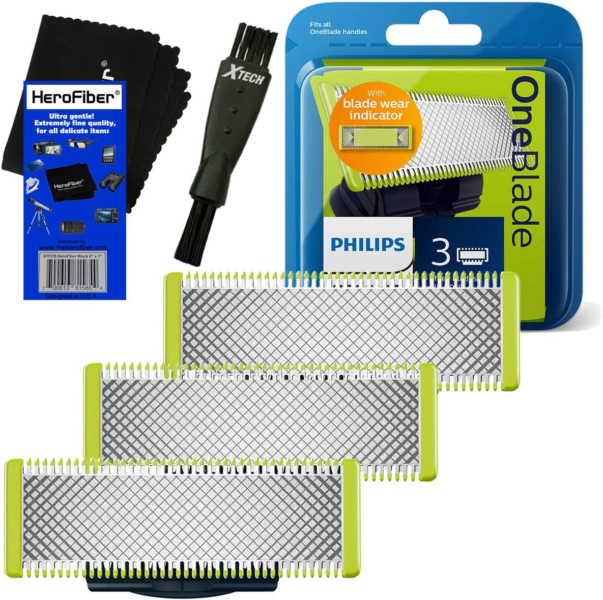 HeroFiber Philips Norelco OneBlade Replaceable Blades (3 Pack) for OneBlade QP2520, QP2530, QP2630, Pro QP6510, QP6520 Electric Trimmers + Double Ended Shaver Brush + HeroFiber Gentle Cleaning Cloth