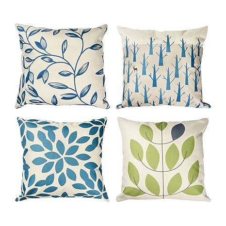 Topfinel hojas algodón lino fundas de cojín almohada cuadrado decorativa para camas sofás sillas 45x45cm serie Hojas mezcladas