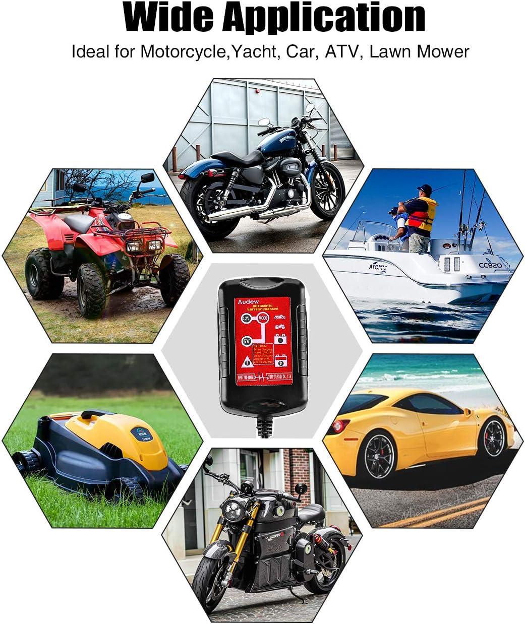 Moto ATV 6V//12V 1.5Amp Camper Audew Caricabatteria e Mantenitore di Carica Intelligente Batteria Caricabatteria per Auto