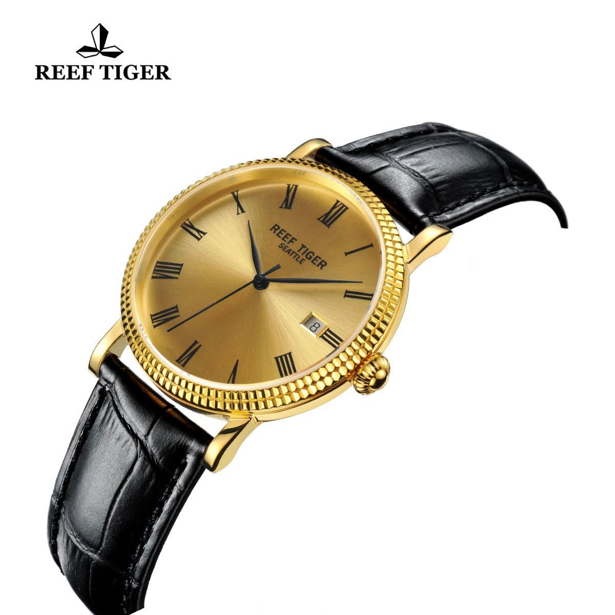 Reef Tiger Designer Dress Watches for Men Yellow Gold Case Leather Strap Date Automatic Watch RGA163 by REEF TIGER (Image #5)