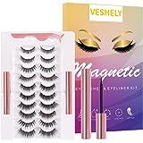 VESHELY Magnetic Eyelashes with Eyeliner Kit,3D Upgraded Natural Look False Lashes Set Short and Long, Reusable Waterproof Ma