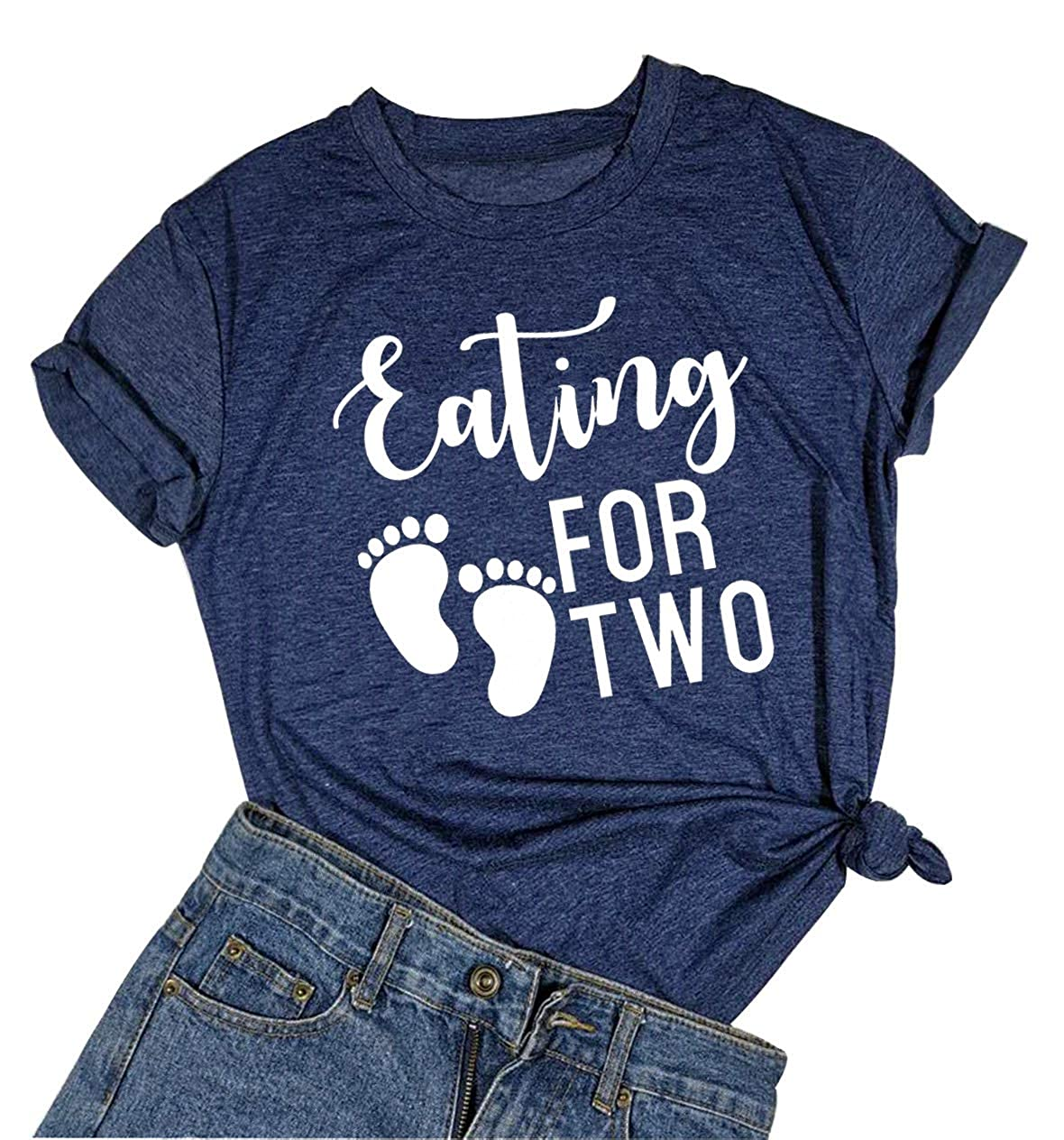 Eating Tacos for Two Pregnancy Announcement Funny T Shirt Women Casual Short Sleeve Tops