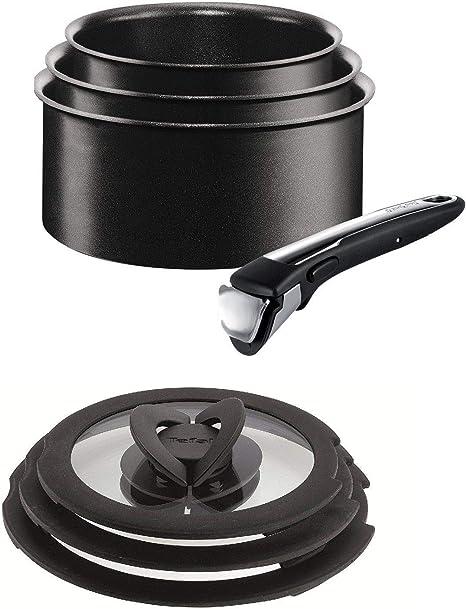 Heavy Duty 3 PC Set Cacerola Sartén Negro Mango De Baquelita Olla Utensilios de Cocina 16 18 20cm
