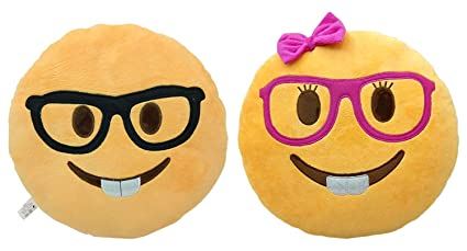 2 PACK - Nerd Face and Lady Nerd Emoji Pillow Emoticon Stuffed Plush Toy Doll Smiley