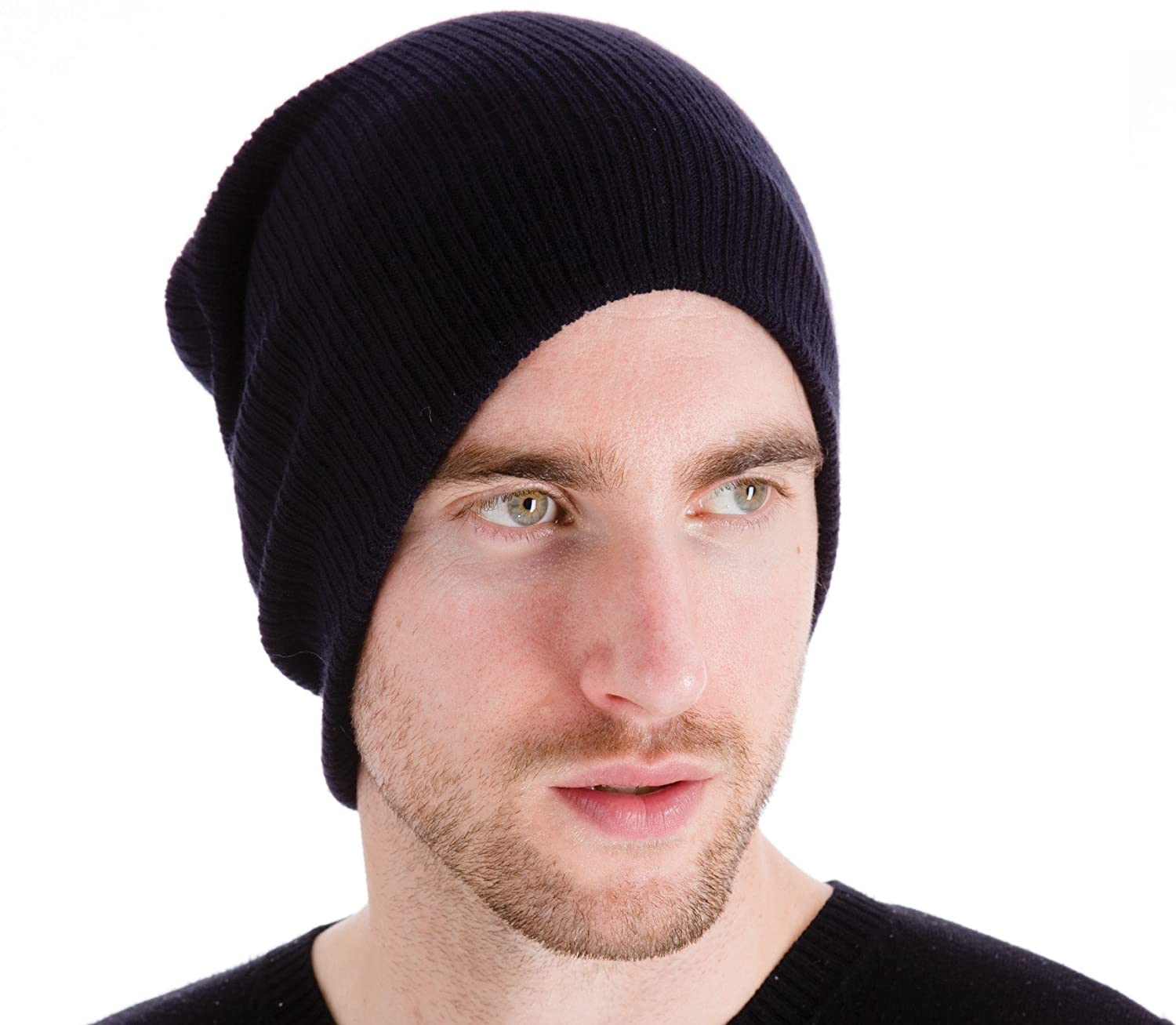 Thinsulate Mens Long Oversized Slouch Acrylic Knitted Beanie Winter Hat  Black GL326  Amazon.it  Sport e tempo libero 0c073d3e039