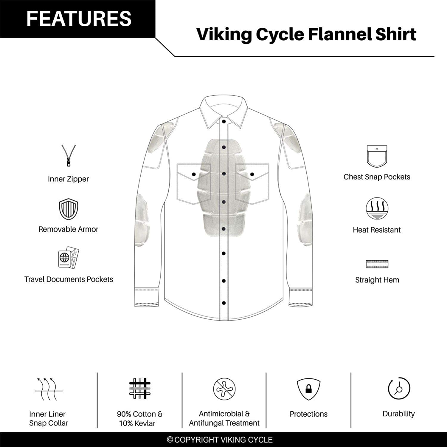 Viking Cycle Motorcycle Flannel Shirt for Men