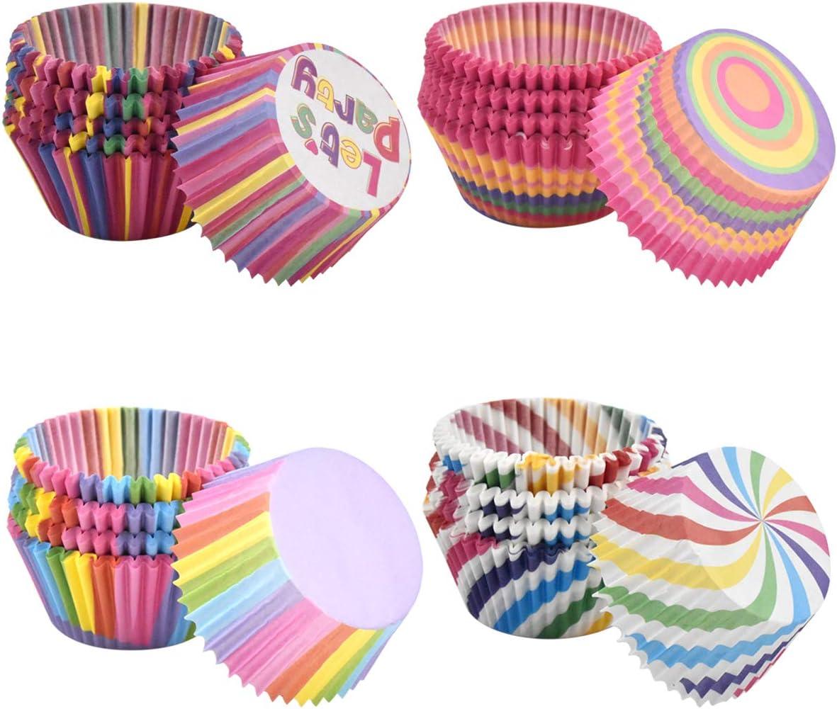 Dokpav 400 Pezzi Pirottini di Carta Arcobaleno Pirottini da Forno per Dessert Torta Matrimoni Compleanni Feste Pirottini per Muffin e Cupcake