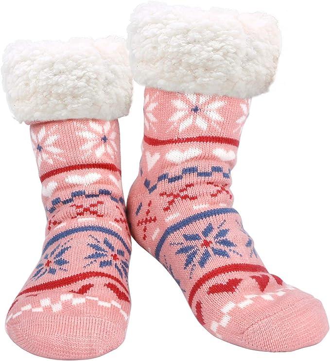Kuschelsocken Kinder mit Noppen rosa Winter Weihnachten