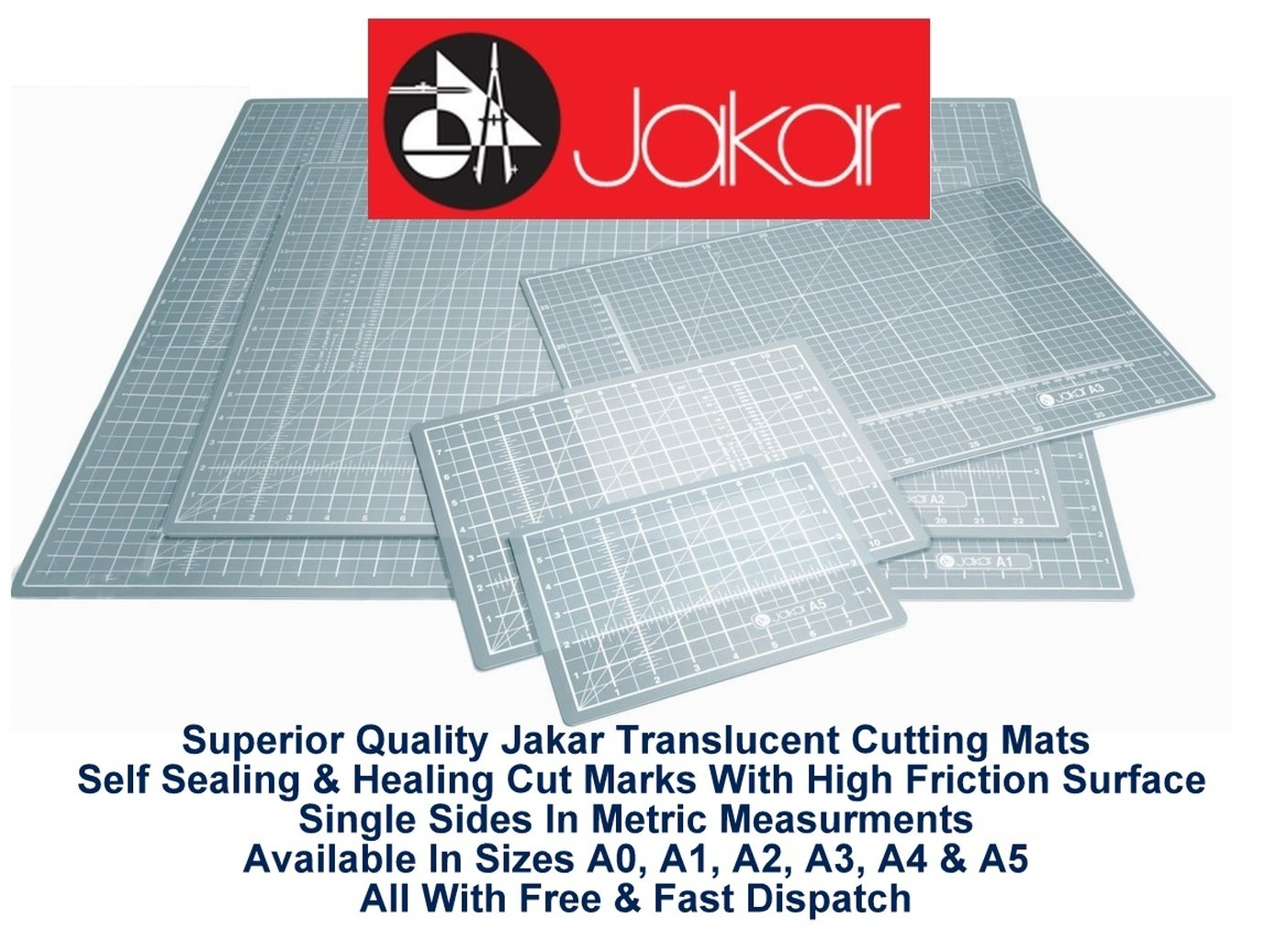 Jakar A1 Translucent Self Healing Sealing Cutting Mat Single Sided Metric cm mm Non Slip Printed Square Grid Line Professional Quality (600 X 900 X 3mm)