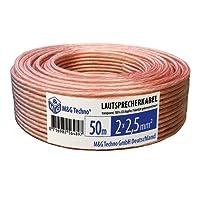 50m - 2 x 2,5 mm², CCA cuivre, Couleur Transparent, Cable Box Speaker Cable Audio fil, flexibles, marques de compteurs