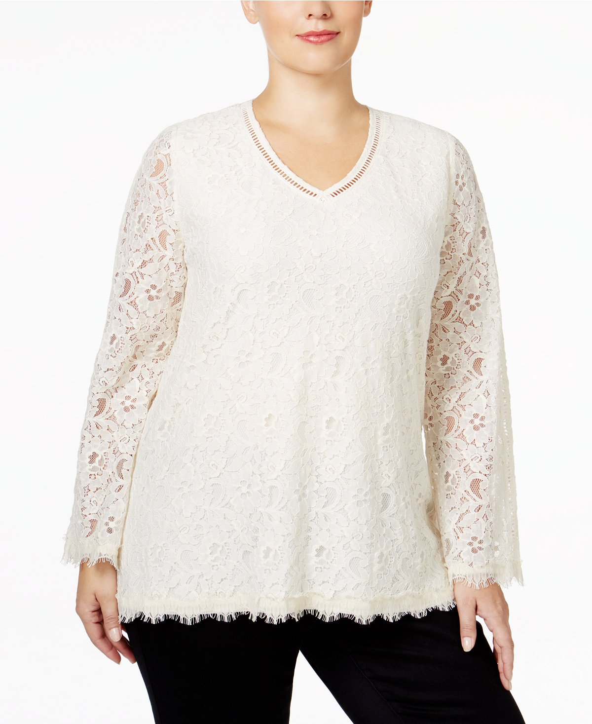Style & Co. Womens Plus Lace Swing Casual Top Ivory 3X