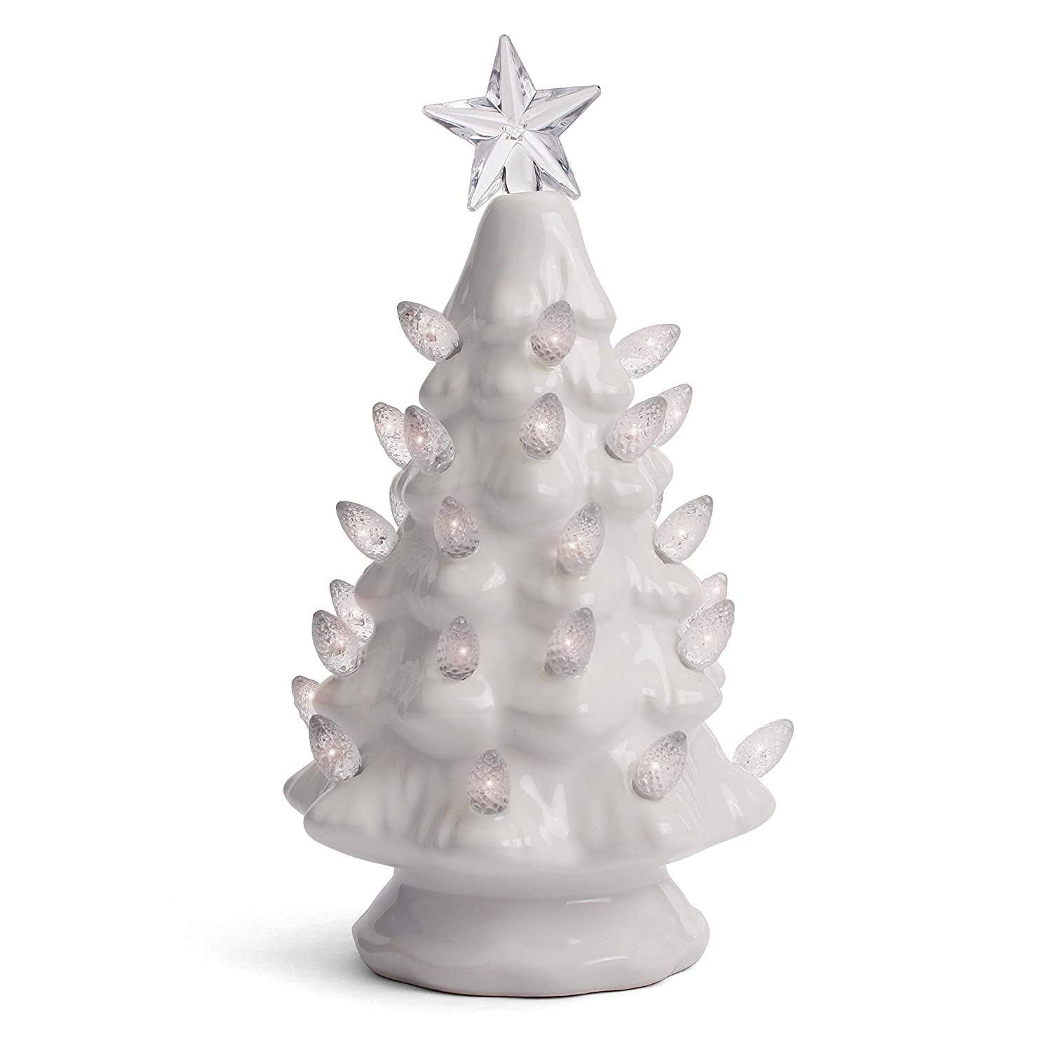 Milltown Merchants Ceramic Christmas Tree Tabletop Christmas Tree Lights Lighted Vintage Ceramic Tree Small White