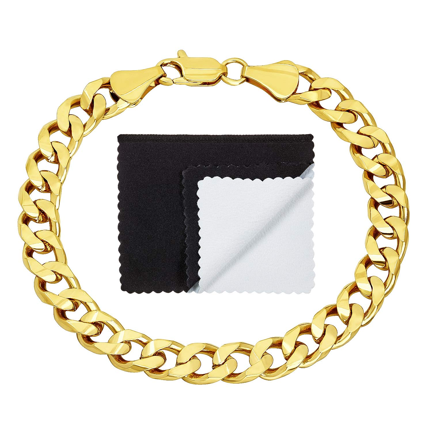 The Bling Factory 14k Yellow Gold Plated 7.5mm Smooth Beveled Cuban Curb Link Chain, 7'' + Microfiber Jewelry Polishing Cloth