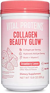 product image for Vital Proteins Collagen Beauty Glow, Marine-Based Collagen Peptides Supplement - 10g of Collagen Per Serving - Hyaluronic Acid & Biotin & Vitamin C - Strawberry Lemon 10.8oz