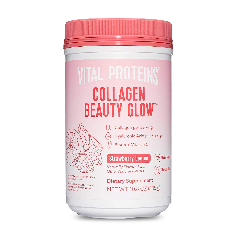 Vital Proteins Collagen Beauty Glow, Marine-Based Collagen Peptides Supplement - 10g of Collagen Per Serving - Hyaluronic Acid & Biotin & Vitamin C - Strawberry Lemon 10.8oz