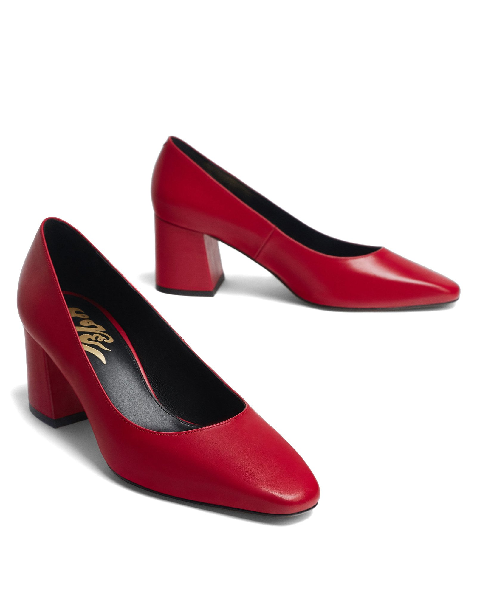 Uterque Women Red leather love high heel court shoes 4143/351 (40 EU | 9 US | 7 UK) by Uterque (Image #2)