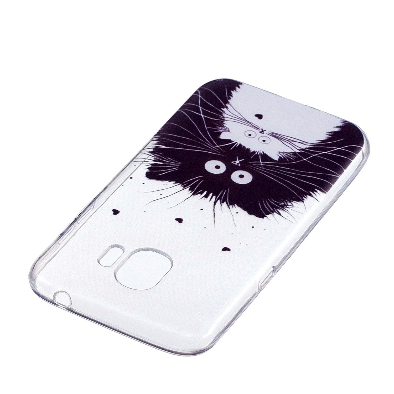 Transparente Silicone Coque pour Samsung Galaxy J2 Pro 2018 Housse Klassikaline Coque Samsung Galaxy J2 Pro 2018 Petit Chat Noir