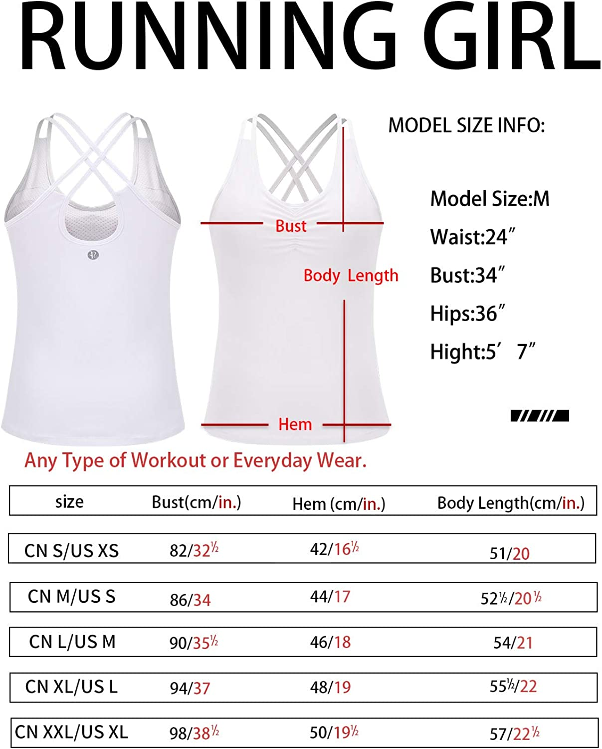 RUNNING GIRL Yoga Tank Tops for Women Built in Shelf Bra B//C Cups Strappy Back Activewear Workout Compression Tops
