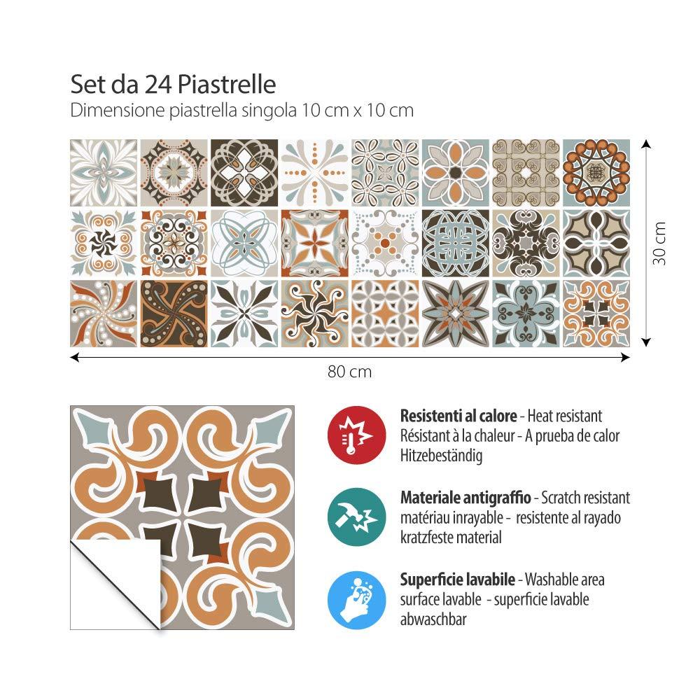 Stickers Design 24 Pieces 10x10 cm Made in Italy PS00086 Adh/ésive d/écorative /à Carreaux pour Salle de Bains et Cuisine Stickers carrelage