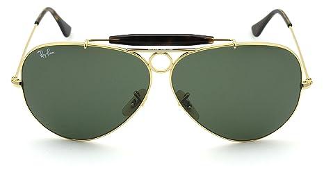 b79b289f52c289 Amazon.com  Ray-Ban RB3138 SHOOTER Unisex Aviator Sunglasses (Gold  Frame Green Lens 001