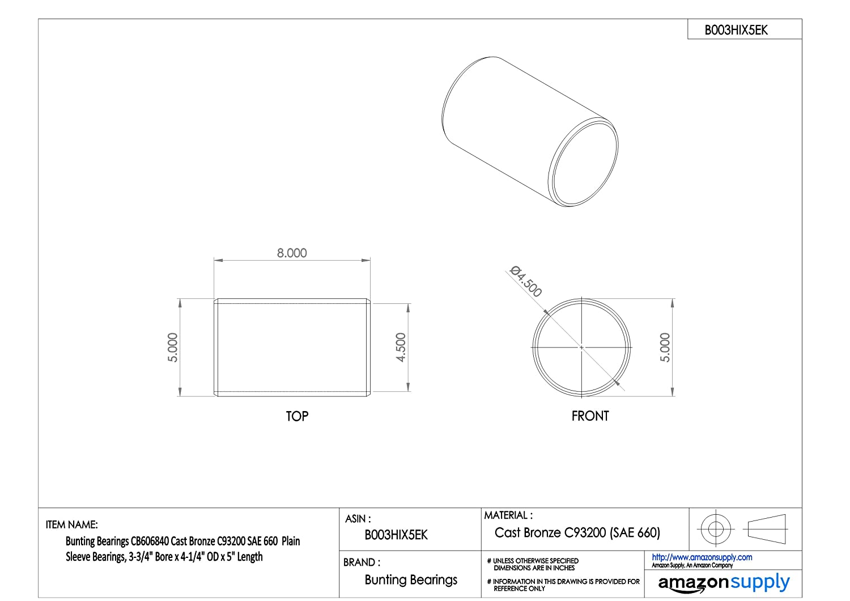 Bearings SAE 660 06 mm Bore x 10 mm OD x 08 mm Length Pack of 5 Plain Cast Bronze C93200 Bunting Bearings CBM006010008 Sleeve CBM006010008A5
