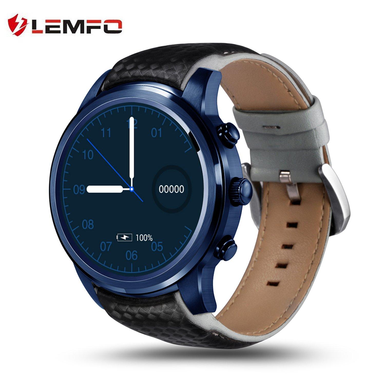 LEMFO LEM5 Pro Smart Watch 1.39 inch 3g Smartwatch Phone MTK6580 Quad Core 2GB 16GB Android 5.1 GPS WiFi Bluetooth IP55 Life Waterproof - Blue