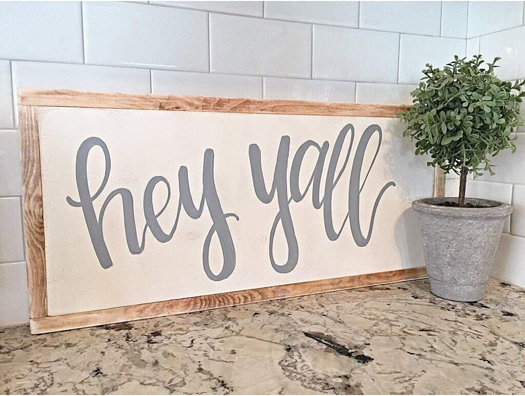 DASON Hey Yall Sign Home Decor Wood Sign Rustic Hand Painted Framed Wood Sign Blogger Fixer Upper Style Farmhouse Sign
