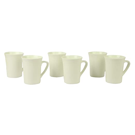 Anwaliya Fauna Series Bone China Coffee Mugs - 6 Pieces, Plain White, 250 ML