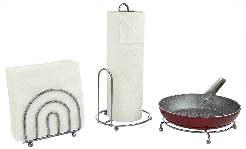 Home Basics 3 Piece Bronze Pantryware Set KT44727 - Paper Towel Holder, Napkin Holder & Trivet