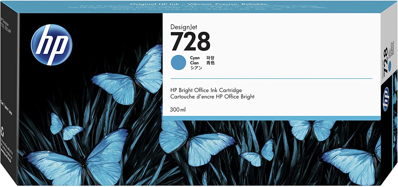 HP 728 Cyan 300-ml Genuine Ink Cartridge (F9K17A) for DesignJet T830 MFP & T730 Large Format Plotter Printers