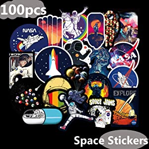 Universe NASA Laptop Stickers Decals-100pcs Waterproof Spaceman Spacecraft Vinyl Decals for Water Bottle Hydro Flask Laptop MacBook Car Helmet Bicycle Motorcycle Bumper Graffiti Patches Skateboard