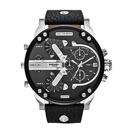 d0ea7c74b1289 Amazon.com  Diesel Men s Mr Daddy 2.0 Quartz Stainless Steel and Leather  Chronograph Watch