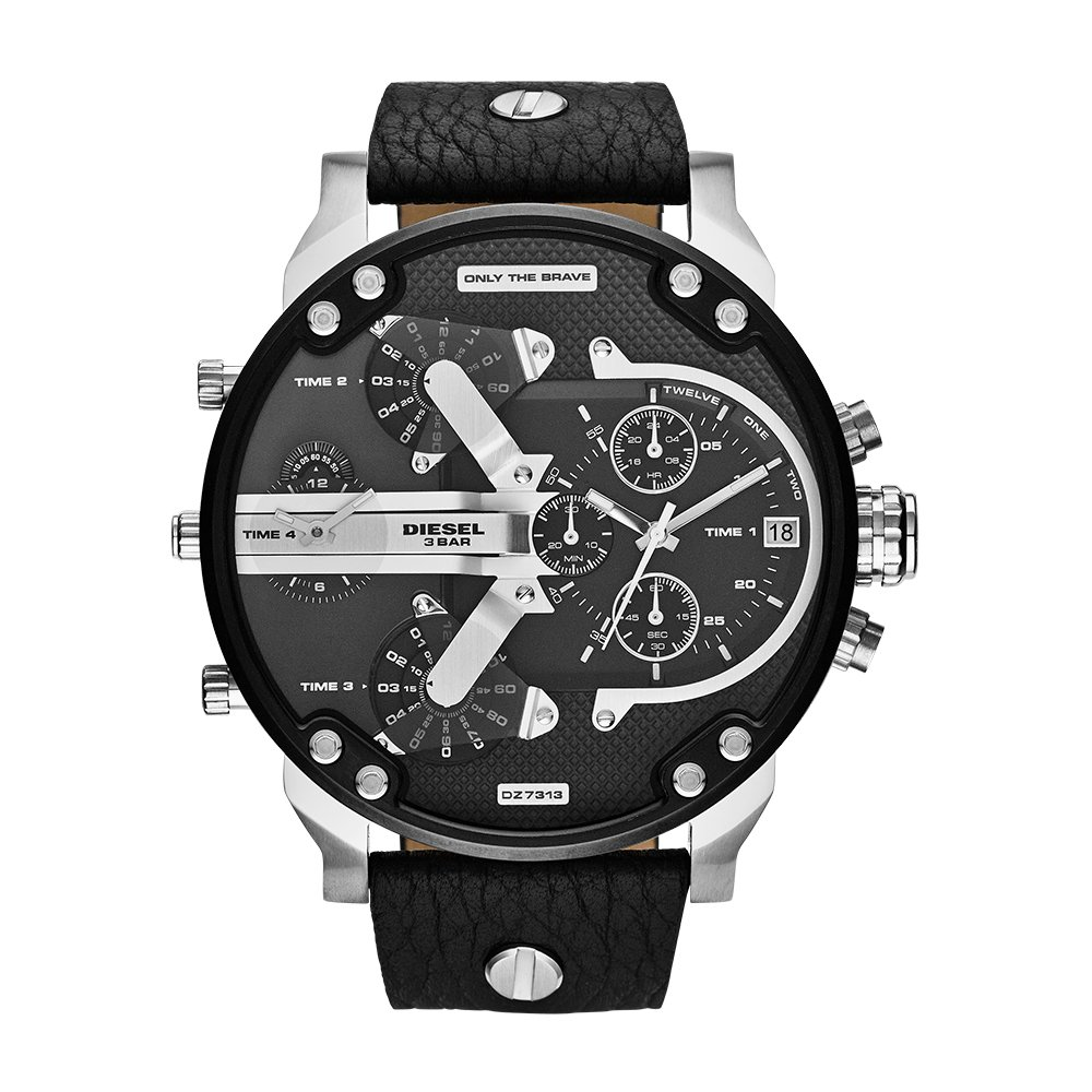 Diesel Men's Mr Daddy 2.0 Quartz Stainless Steel and Leather Chronograph Watch, Color: Black (Model: DZ7313)