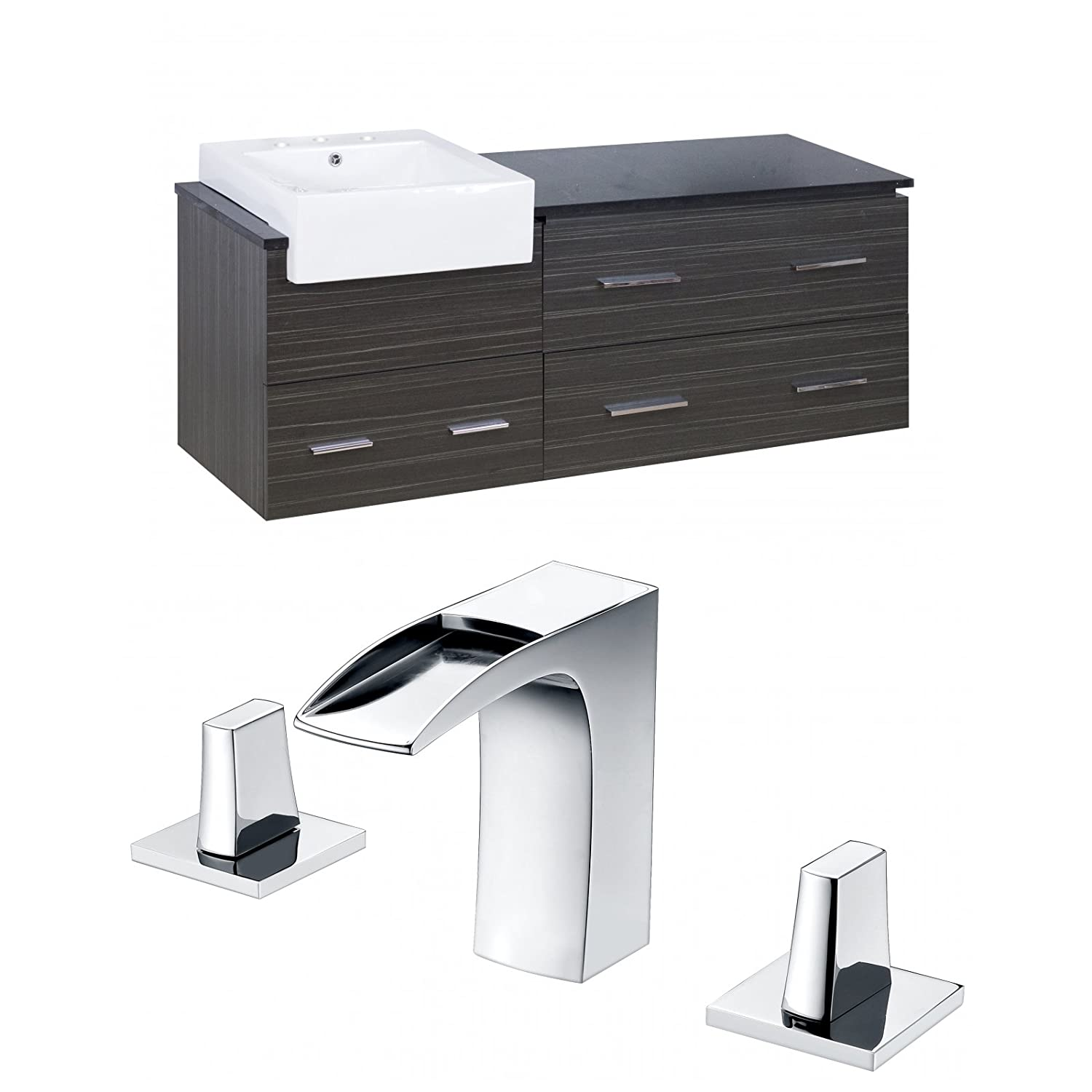 American Imaginations AI-999-10594 Modern Plywood Vanity Set in Grey with 8' CUPC Faucet, Dawn Grey