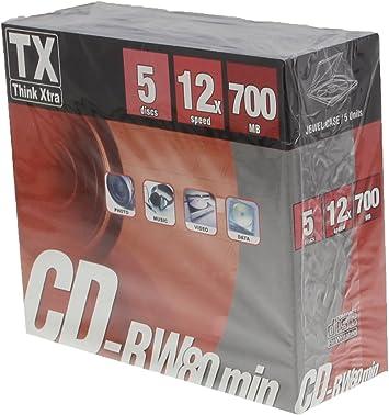 TX Think Xtra CD-RW 80 700 MB – Pack de 5: Amazon.es: Electrónica