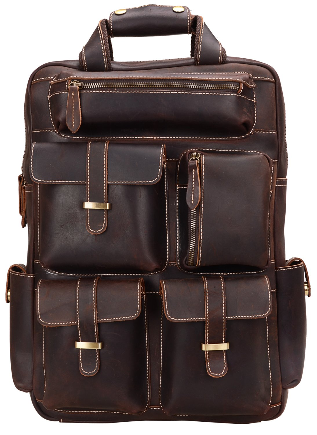 ALTOSY Genuine Leather Backpack Men Vintage Travel Casual School Bag YD8027 (Coffee)